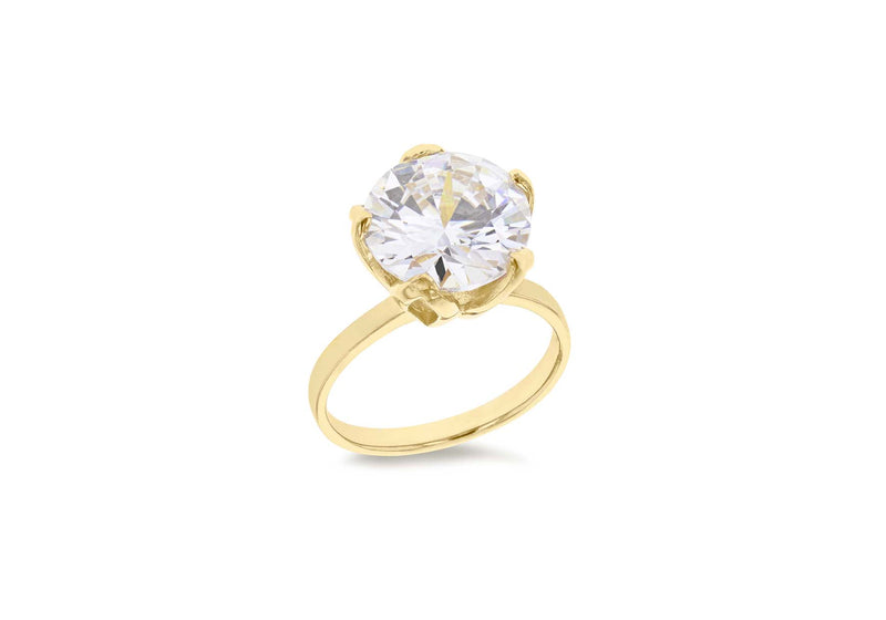 Sterling Silver Gold Plated Large Zirconia  Solitaire Ring