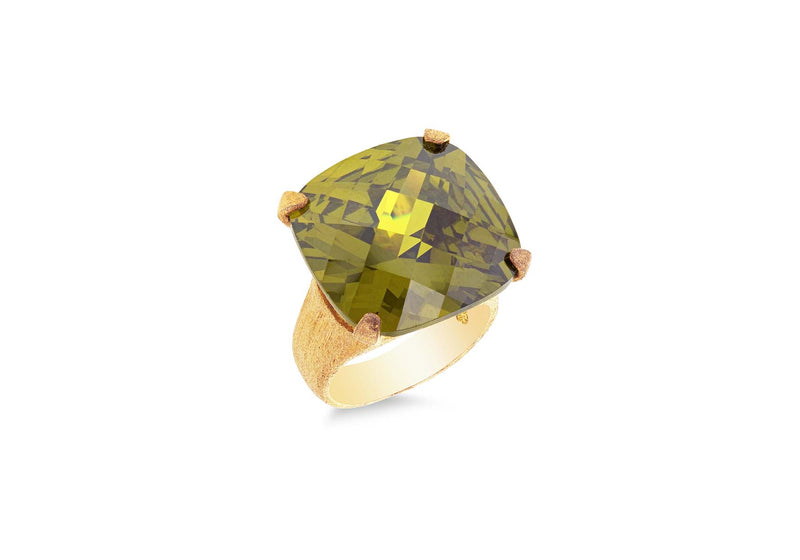 Sterling Silver Yellow Gold Plated Green Zirconia Facet Ring