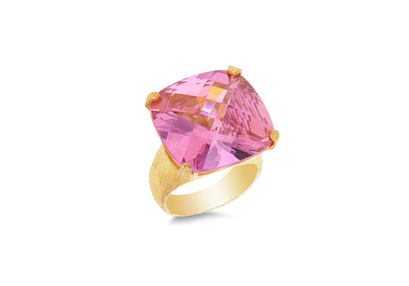 Sterling Silver Gold Plated Large Pink Square Zirconia  Faet Ring