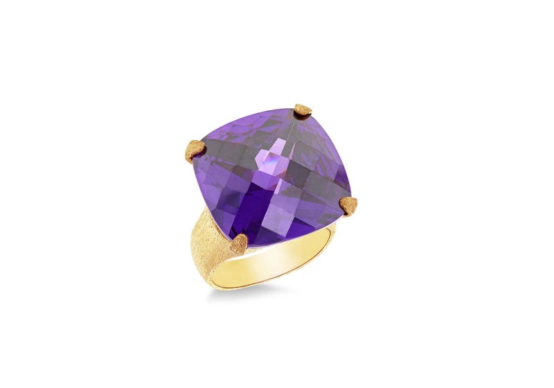 Sterling Silver Amethyst Zirconia Square Facet Ring
