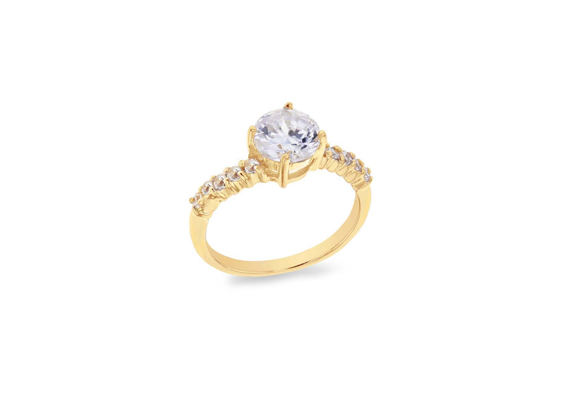 Sterling Silver Gold Plated Zirconia  Set Fancy  Ring