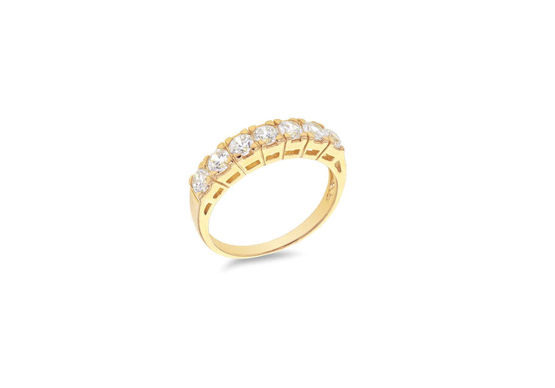 Gold Plated Sterling Silver Seven Stone Zirconia Eternity Ring