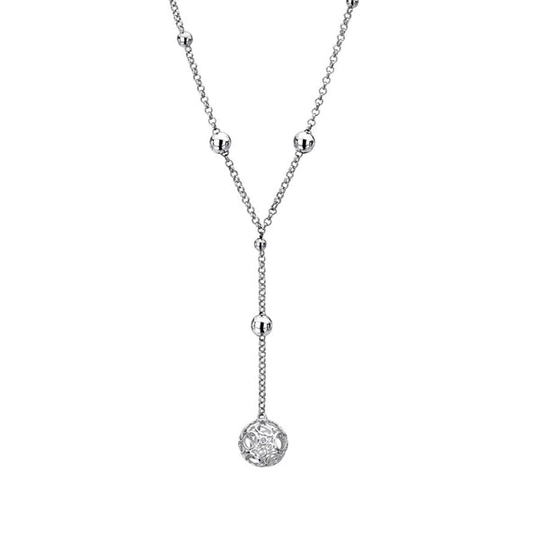 Y-Shape Necklace With Intricate Ball-Detail Hand-Set With A Diamond Accent