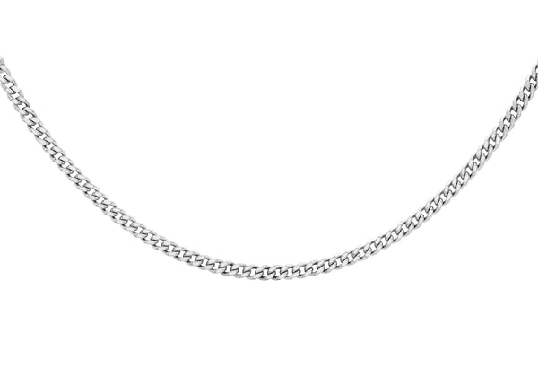 "Platinum 35 Diamond Cut Curb Chain 41m/16""9"