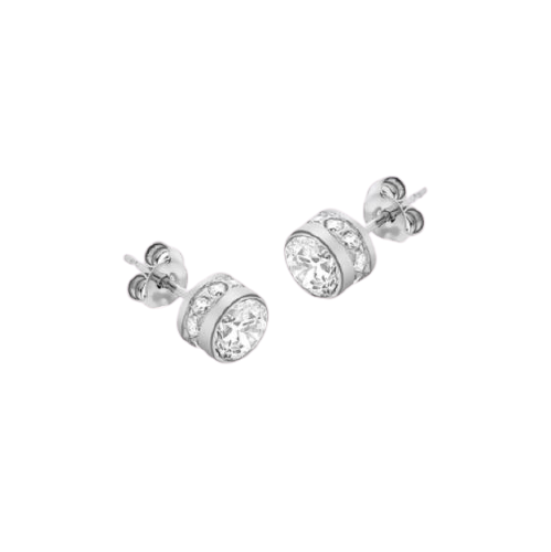 9ct White Gold Zirconia 6mm Stud Earrings