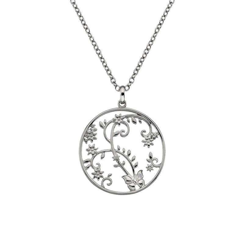 Openwork Floral Butterfly Disc Necklace  Hand-Set With A Diamond Accent