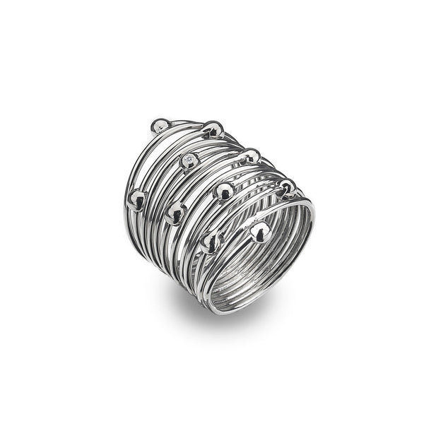 Wide Coiled Ring Hand-Set With A Diamond Accent