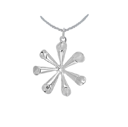 Sterling Silver Fluted Spray Drop Pendant