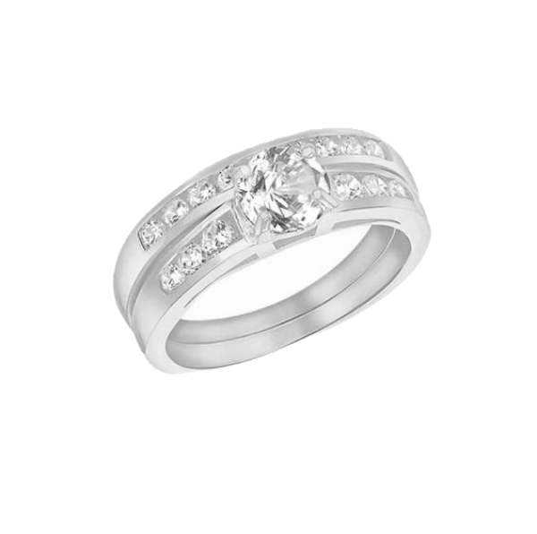 Sterling Silver Zirconia Engagement and Wedding Band Rings