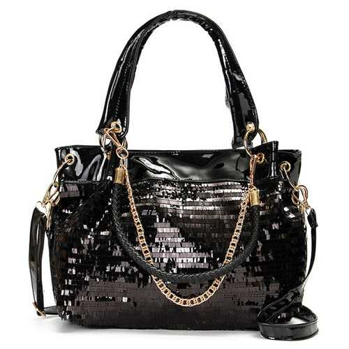 Women Luxury Paillette Patent Leather Handbag Casual Large Crossbody Shoulder Bag