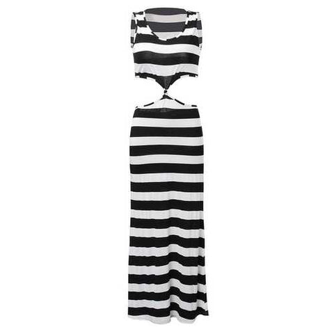 Sexy Stripe Sleeveless Hollow Out Women Sheath Maxi Dress