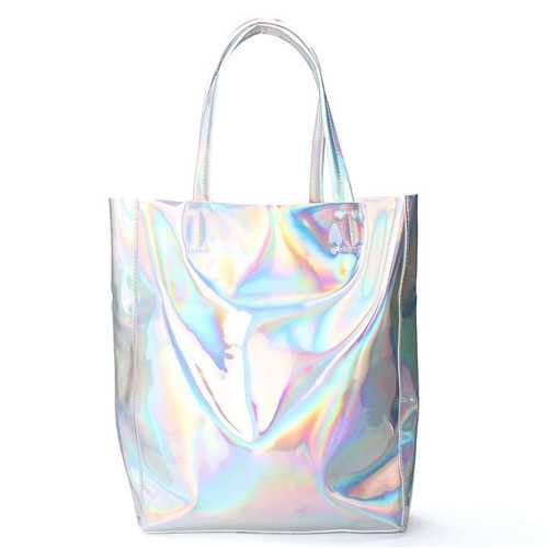 Women Silver Tote Bags Casual Shoulder Bags Capacity Shopping Bags