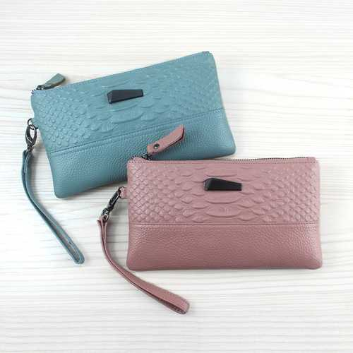 Women Crocodile Genuine Cowhide 6.3 Inches Phone Clutch Wallet Keys Card Coin Holder 6 Colors