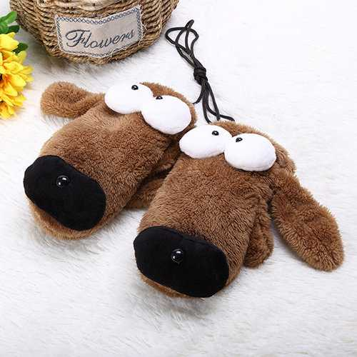 Women Cute Cartoon Gloves Big Eye Dog Winter Warm Novelty Plush Thick Wrist Mittens