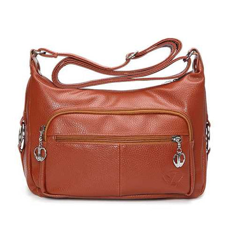 Women Front Pocket Shoulder Bags PU Leather Elegant Crossbody Bags Messenger Bags