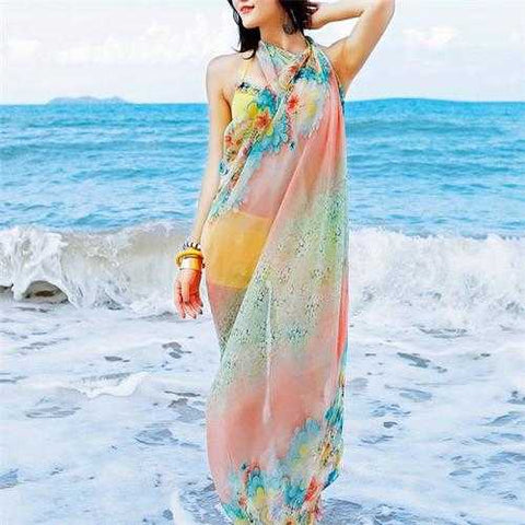 Women Spring Summer Oversized Printing Scarf Sunscreen Chiffon Scarves Shawls Beach Towel
