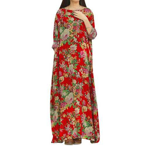Retro Floral Printed Floor-Length Dress