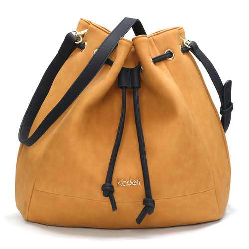 7f15cc49dda9 Kadell Women Matte Leather Bucket Bags Vintage Drawstring Shoulder Bags  Crossbody Bags