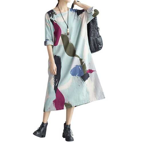 Large Size Colorful Feathers Printed Cotton Linen Long Sleeve Dress For Women