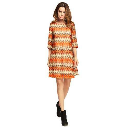 OEUVRE Women Wave Printed Half Sleeve O-Neck Mini Dress