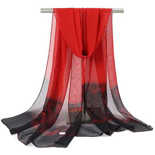 Women Gradient Color Chiffon Shawl Spring Autumn Travel Warm Scarf