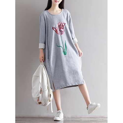 Casual Women Flower Printed Long Sleeve Pullover Dress