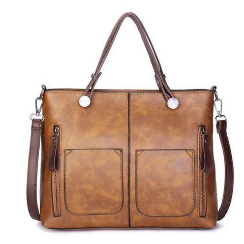 Women Solid Dating  Soft Leather Large  Capacity Tote Bag