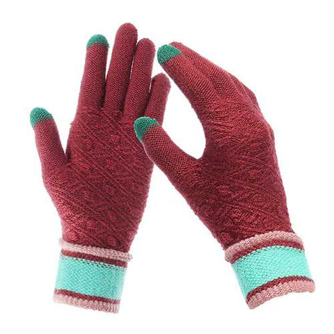 Women Winter Warm Full-finger Gloves Knitted Thicken Outdoor Sport Mittens
