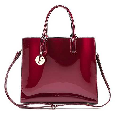Women Quality Patent Leather Vintage Elegant Handbag Shoulder Bag Crossbody Bag