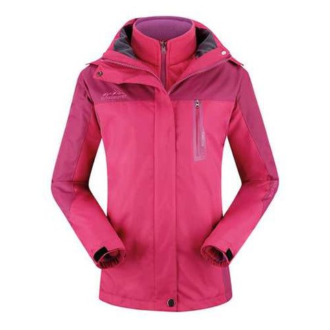 Womens Outdoor Two Sets Warm Waterproof Windproof Fleece Hooded Mountaineering Jackets