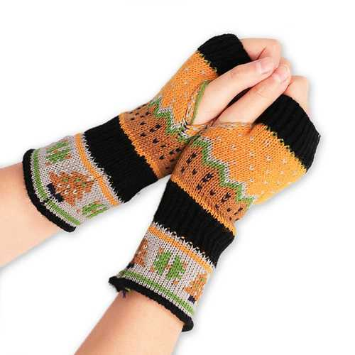 Women Christmas Winter Warm Knitting Fingerless Gloves For Christmas Gift