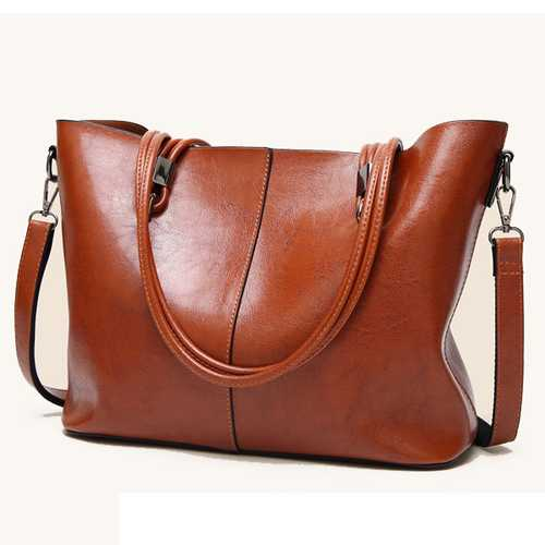Women Wax Oil Skin Handbag Retro Crossbody Bag Tote Bag