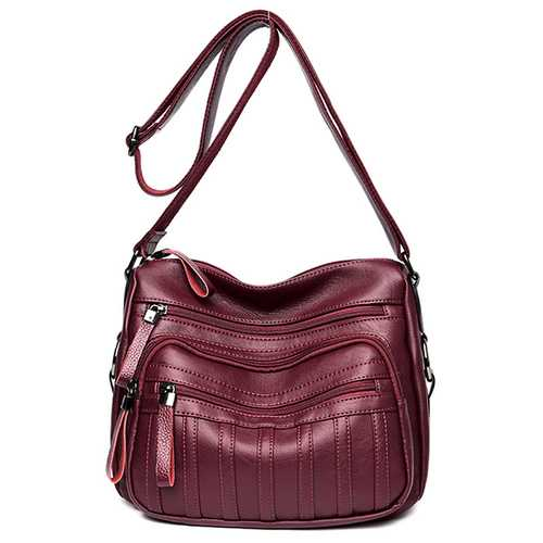 Women Vintage PU Leather Crossbody Bag Multi-pockets Shoulder Bag