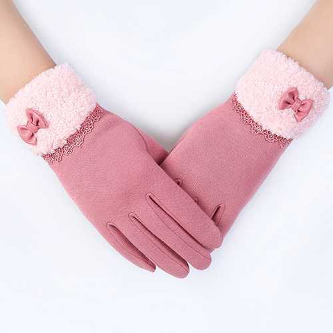 Women Elegant Winter Plush Warm Christmas Gloves