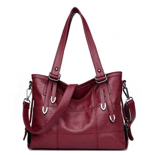 Women Vintage Pure Color PU Handbag Tote Bag Crossbody Bag