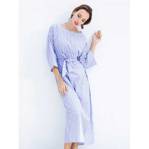S-5XL Casual Women Stripe Long Maxi Dress with Belt