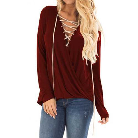 Women V-Neck Cross Pleated Long Sleeve Blouse