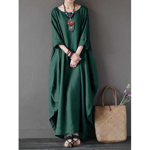 Women Loose Pure Color Baggy Maxi Dress