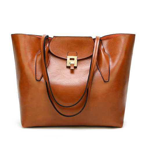 Women PU Vintage Handbag Solid Lock Shoulder Bag Tote Bag
