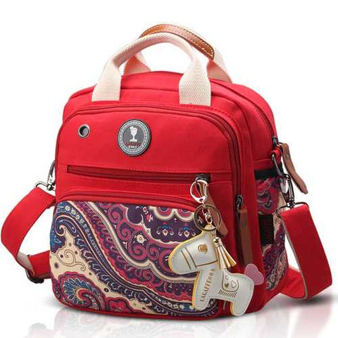 Women Canvas Multifunctional Print Shoulder Bags Backpack
