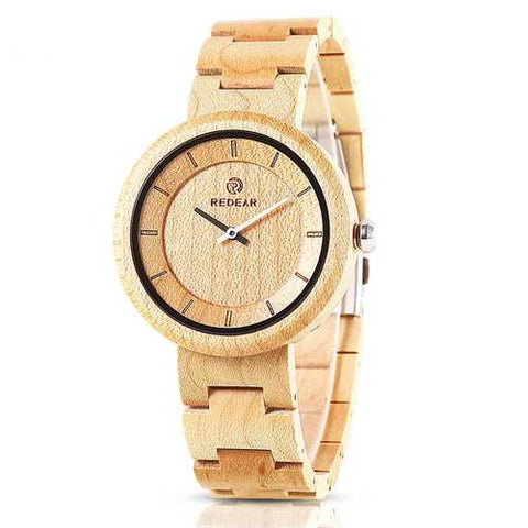 REDEAR SJ1628 Simple Design Unisex Wood Wrist Watch
