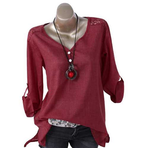 Patchwork Lace V-neck Long Sleeves Blouse