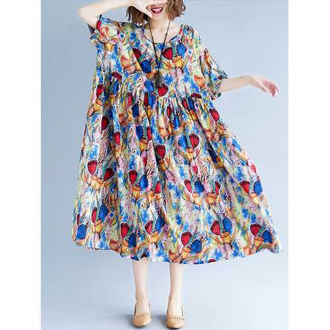 Women Cotton Printed O-neck Casual Maxi Dress