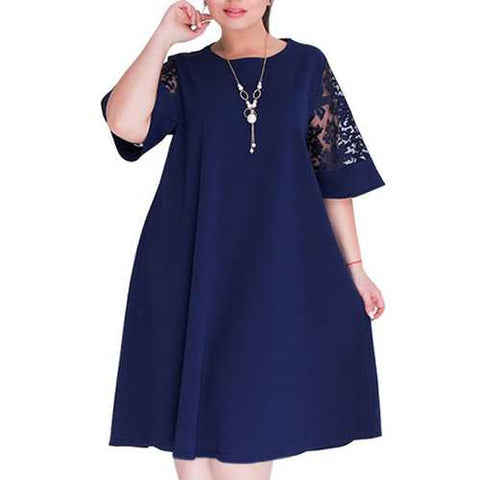 Casual Women Loose Bell Sleeve O-Neck Dress