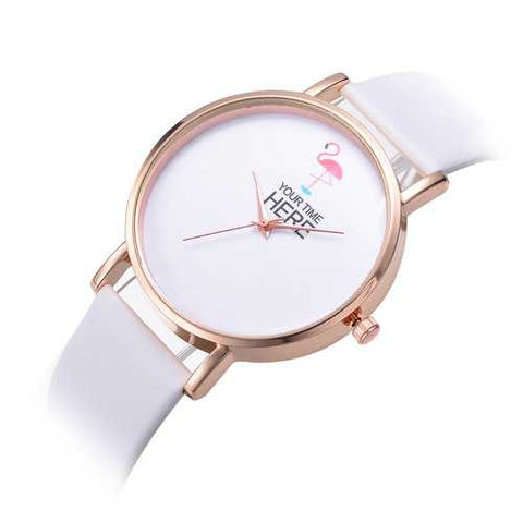 Casual Style Rose Gold Case Leather Strap Women Wrist Watch