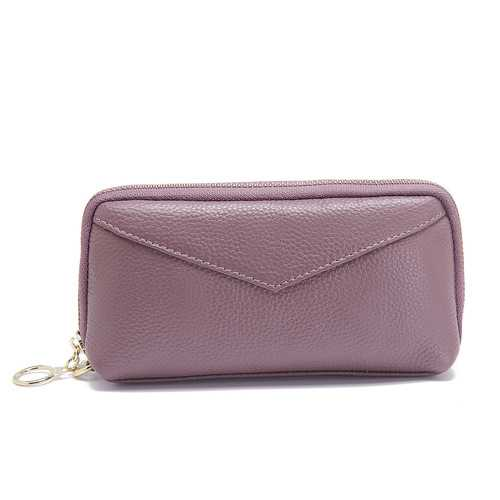 Women Genuine Leather Pure Color Clutch Bag Wallet