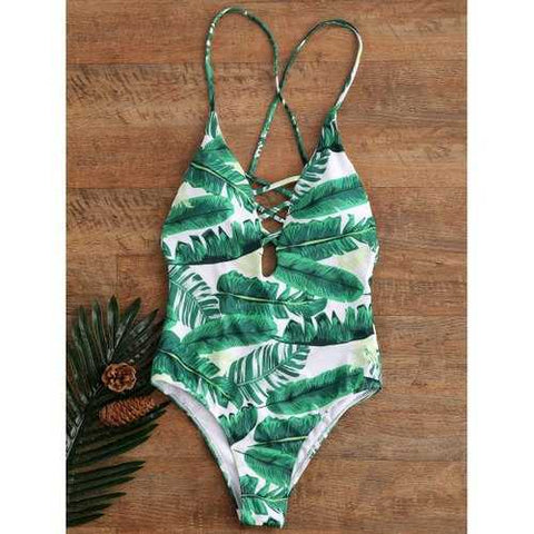 Palm Print Backless Plunge Padded One Piece Bathing Suit - Green M