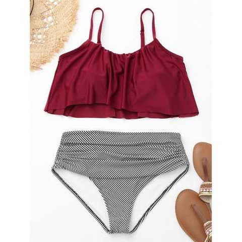 Flounce Spaghetti Strap Striped Bikini Set - Wine Red L