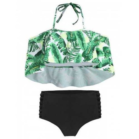 Tropical Print Ladder Cut Out Bikini Set - Clover Green M