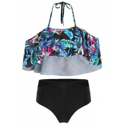 Tropical Print Halter Cut Out Bikini Set - Black 2xl